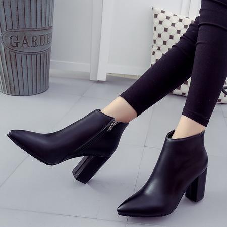 2016秋冬新款女马丁靴韩版粗高跟女鞋尖头短靴子及裸靴一件代发